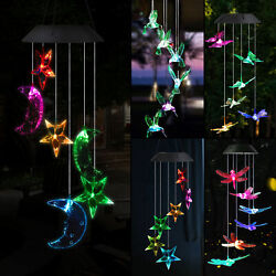 LED Solar Color Changing Wind Chimes Yard Garden Home Window Decor Lamp Lights $17.27