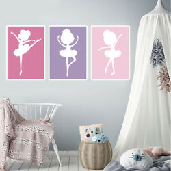 3pcs Ballerina Wall Art Print Canvas Painting Nursery Girls Room Modern Decor $7.19