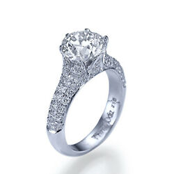 2 14 Carat DIAMOND ENGAGEMENT RING 14K WHITE GOLD ROUND CUT JEWELRY SI2G 9092