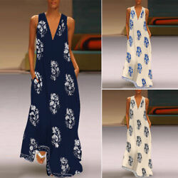 ZANZEA Women Sleeveless Bohemia Long Maxi Dress Summer Beach Party Sundress Plus $8.99