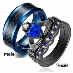 Couple Rings Black Plated Titanium Steel Ring Mens Wedding Band Womens Ring Sets