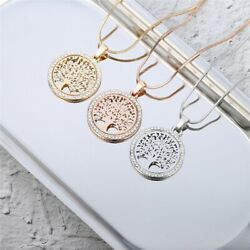 Crystal Round Small Pendant NecklaceTree of Life Women Jewelry