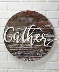 Gather Embellished Wall Art Plaque Sign Farmhouse Country Rustic Home Decor $19.95