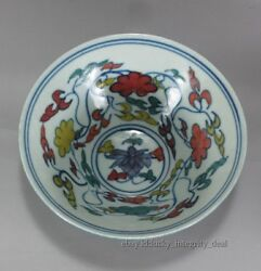 Old Chinese Peacock Green Glaze Famille Rose Porcelain Hats Bowl Mark