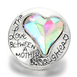 5X Love Heart Crystal Chunk Charm Snap Button Fit 18mm Drill Noosa Jewelry 65-4