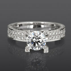 SOLITAIRE & ACCENTS DIAMOND RING 14 KT WHITE GOLD LADY 4 PRONG VVS1 3.02 CT