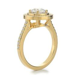 2.10 carat Round VVS Color D Diamond Double Halo Engagement Ring 14k Yellow Gold