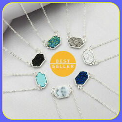 Kendra Scott Elisa Pendant NEW NWT Necklace Multi Color Drusy Silver Jewelry