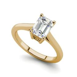 4 Prong 2.25 Carat VS1H Emerald Cut Diamond Engagement Ring Yellow Gold