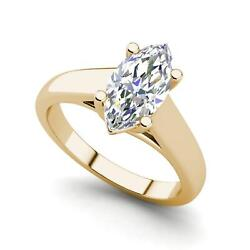 Solitaire 2.75 Carat VS2F Marquise Cut Diamond Engagement Ring Yellow Gold