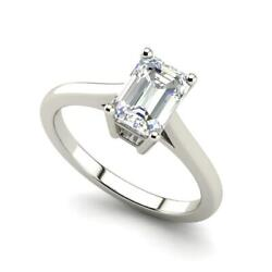 4 Prong 2.25 Carat VS1H Emerald Cut Diamond Engagement Ring White Gold