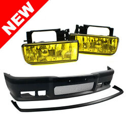 92-98 BMW E36 OEM Factory Style M3 Front Bumper w Grille + Lip + Yellow Fogs