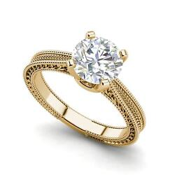 Hand-Engraved Solitaire 3 Ct VS2H Round Cut Diamond Ring Yellow Gold