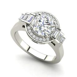 Halo Solitaire 2.55 Carat VS2D Round Cut Diamond Engagement Ring White Gold
