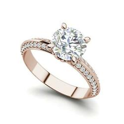 Pave Milgrave 2.35 Carat VS1D Round Cut Diamond Engagement Ring Rose Gold