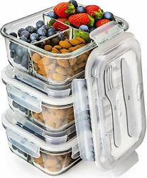 Glass Lunch Box Meal Prep Container 3-Compartment Microwave Freezer FREE Cutlery