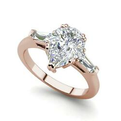 Baguette Accents 1.4 Ct VVS1D Pear Cut Diamond Engagement Ring Rose Gold
