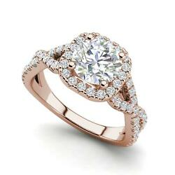Infinity Halo 3.15 Carat VS2H Round Cut Diamond Engagement Ring Rose Gold