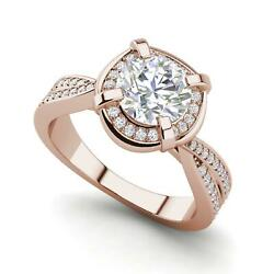 Twisted Halo 2.4 Carat VVS2F Round Cut Diamond Engagement Ring Rose Gold