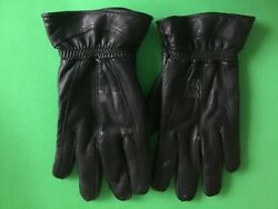 VINTAGE BLACK LEATHER DRIVING GLOVES MENS L XL COTTON FLEECE LINNING WINTER SOFT $19.99