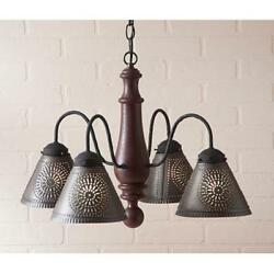 Crestwood wood Chandelier on Americana Red $413.95