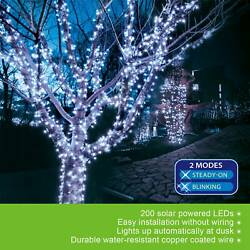 72ft 200 LED Outdoor Indoor Cool White Solar String Christmas Fairy Party Lights