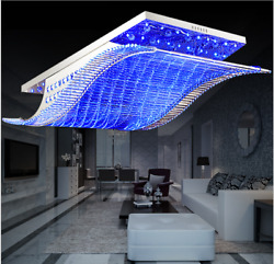 7 Color K9 Crystal Ceiling Light LED Chandelier Remote Control Pendant Lighting $143.99