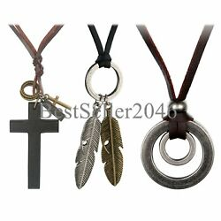 3pcs Leather Necklace for Men Women Vintage Feather Cross Adjustable Cord Chain $10.99