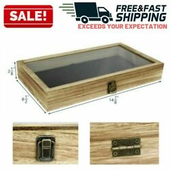 Large Wooden Jewelry Box Display Case Storage Tempered Glass Top Lid Organizer