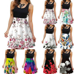 Womens Summer Floral Sleeveless Midi Dress Casual Beach Party Patchwork Sundress