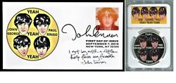 Beatles John Lennon She Loves You 2018 FDC and Silver Coin Display