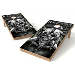 Oakland Raiders Skull Cornhole Board Game Decal Laminated Wraps Vinyl SET