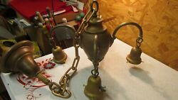 Antique 4 Arm Brass Ceiling Light Fixture amp; 4 Fancy Antique Shades $249.00