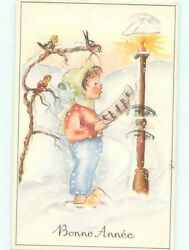 foreign Pre-1980 CHILD AND BIRD SINGING TO SHEET MUSIC AC6852