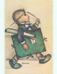 foreign Pre-1980 signed BOY CARRYING ARTIST SUPPLIES AC6816