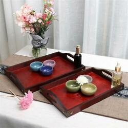 Server Dishes Handles Serving Wood Tray Food Retro Wooden Tea with Plate