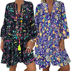 Plus Size Womens Boho Floral Ruffle Long Sleeve Mini Dress Summer Loose Tunic US $20.32