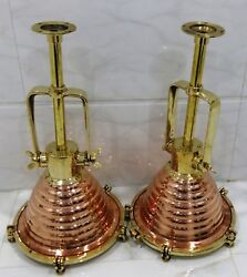 VINTAGE NAUTICAL HANGING CARGO SPOT LIGHT MADE OF BRASS AND COPPER 4 PIECES NEW