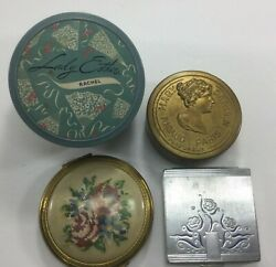 Vintage Compacts Loose Powder Containers Rigaud Lady Esther Bourjois Lot of 4