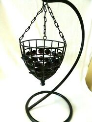 Wrought Iron Hanging Candle Holder Purple Prisms Wire 2quot; Pillar Not Included $12.00