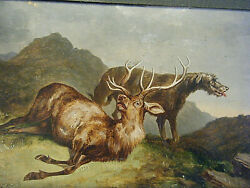 Original Edwin Henry Landseer 1840s Oil on Board Painting Dying Stag