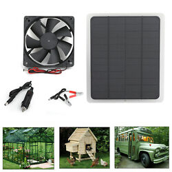 Solar Panel Powered Fan Mini Ventilator For Greenhouse PetDog Chicken House UA