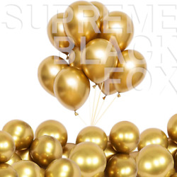 50 Gold Metallic Balloons Chrome Shiny Latex 12quot; Thicken For Wedding Party Baby $10.99