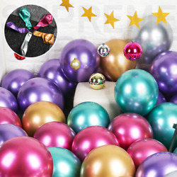50 Mixed Metallic Balloons Chrome Shiny Latex 12quot; Thicken For Wedding Party Baby $10.99