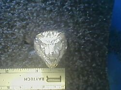 925 sterling silver lion ring. Size 10 mans ring. Newly casted. 54 grams.