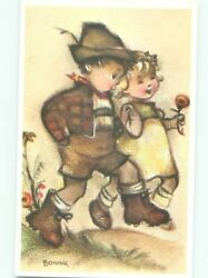 foreign Pre-1980 signed BOY AND GIRL RUNNING TOGETHER AC6802