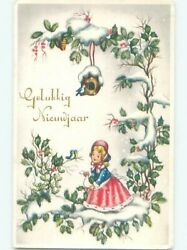 foreign Pre-1980 New Year GIRL UNDER THE BIRDHOUSE AC6769