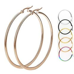 Gold Rose Gold Black Silver Stainless Steel Simple Round Hoop Earrings 10mm 70mm $6.45