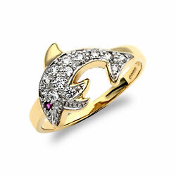 Jewelco London 9ct Gold Red and White CZ Pave Dolphin Ring