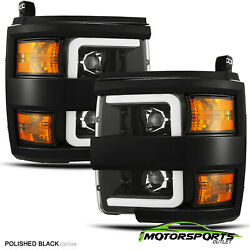 For 2015-2019 Silverado 25003500 Polished Black LED DRL Projector Headlights